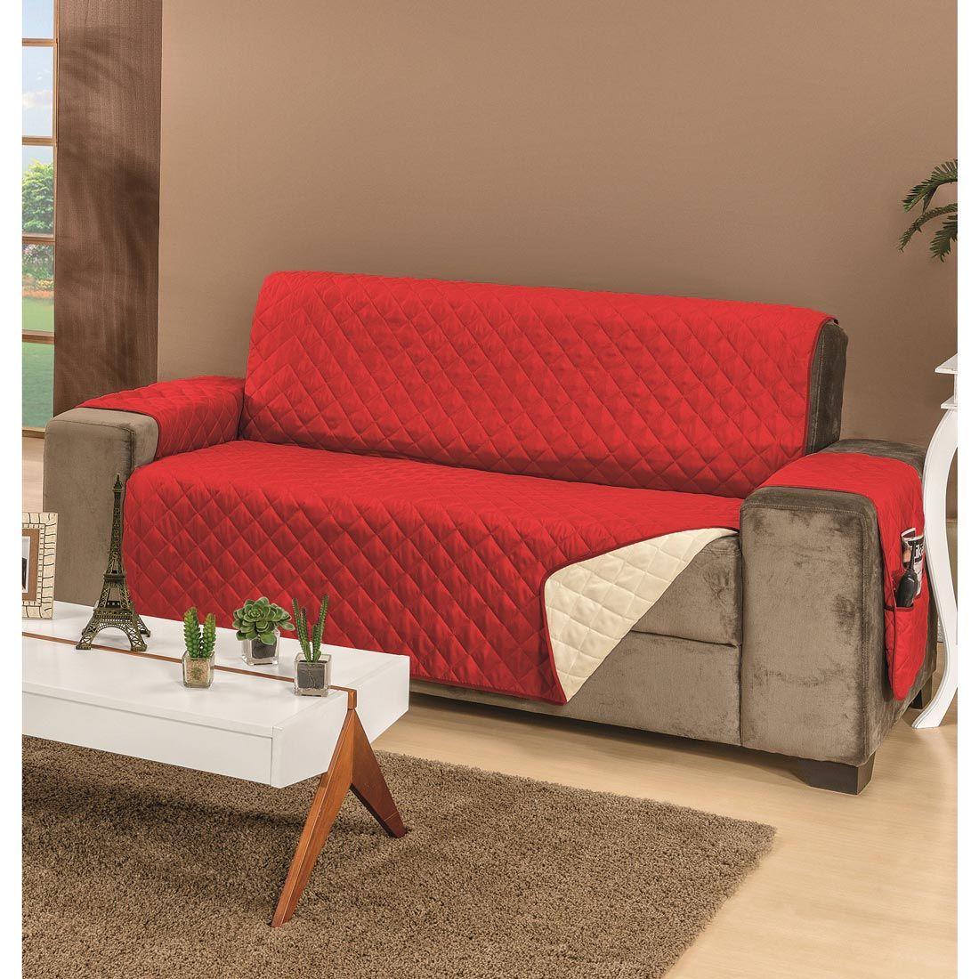 Protetor de Sofá Manu Para 2 e 3 Lugares Dupla Face Tecido Microfibra - Vermelho/Palha
