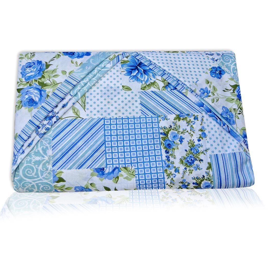 Jogo de Lençol Casal Queen Marina 03 Peças Tecido Misto - Azul Patchwork
