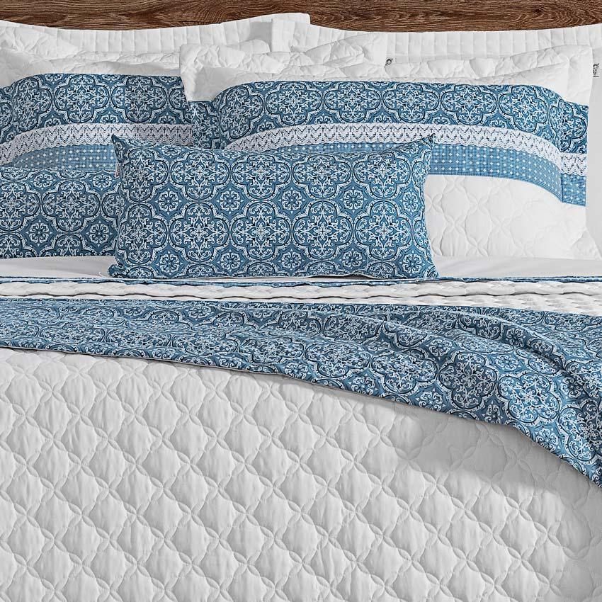Cobre Leito Casal Queen Marine 06 Peças 100% Algodão com Peseira - Branco/Azul