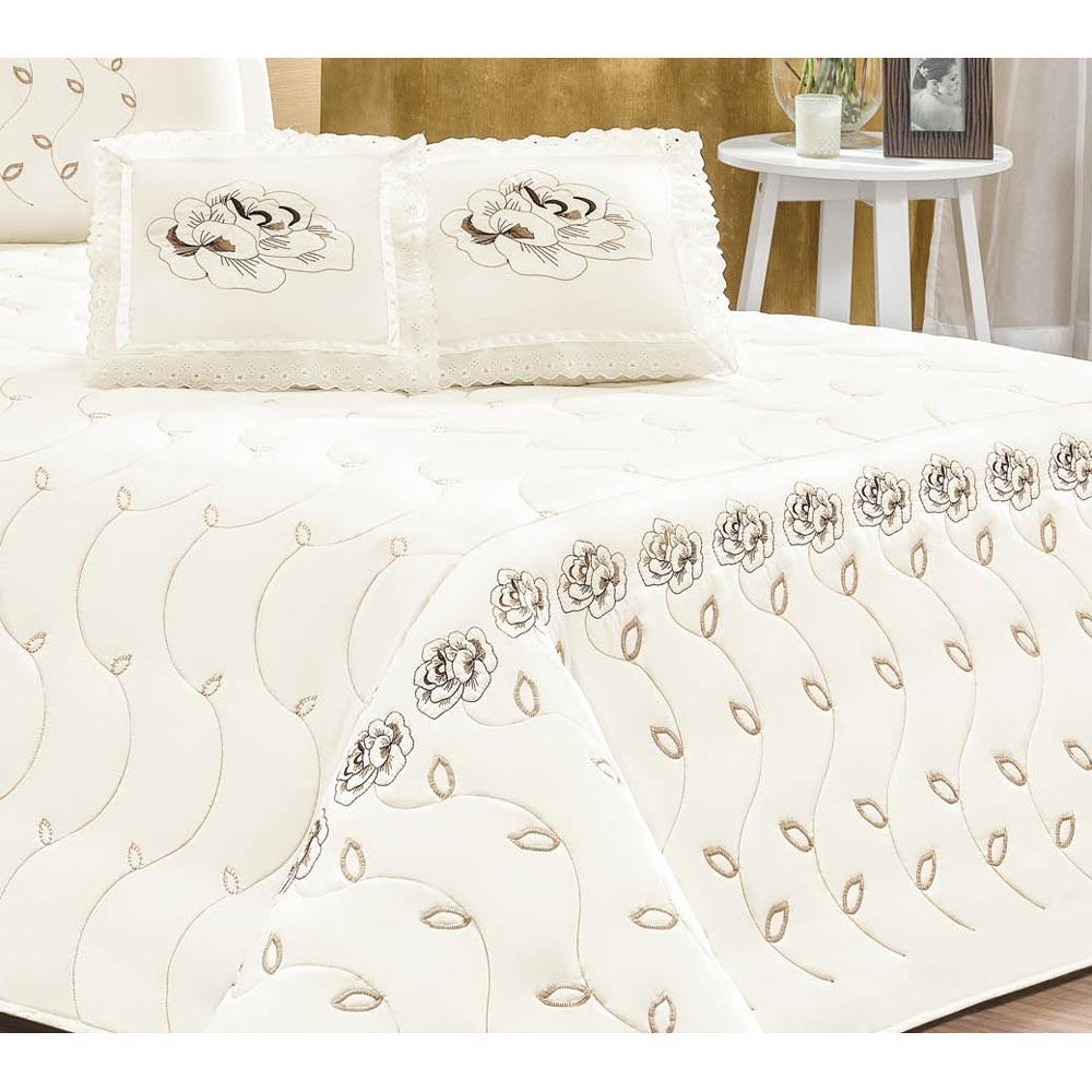 Cobre Leito Casal King Marrocos 05 Peças Tecido Microfibra Peletizada - Palha