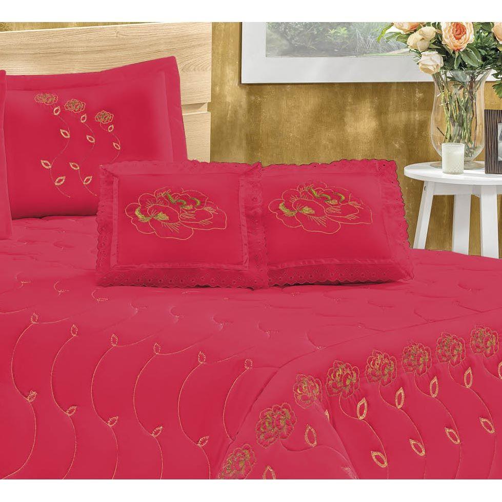 Cobre Leito Casal Queen Marrocos 05 Peças Tecido Microfibra Peletizada - Vermelho