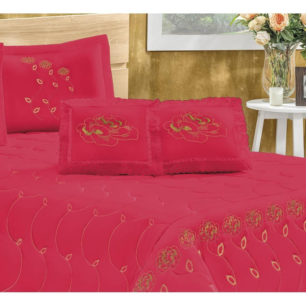 Cobre Leito Casal King Marrocos 05 Peças Tecido Microfibra Peletizada - Vermelho