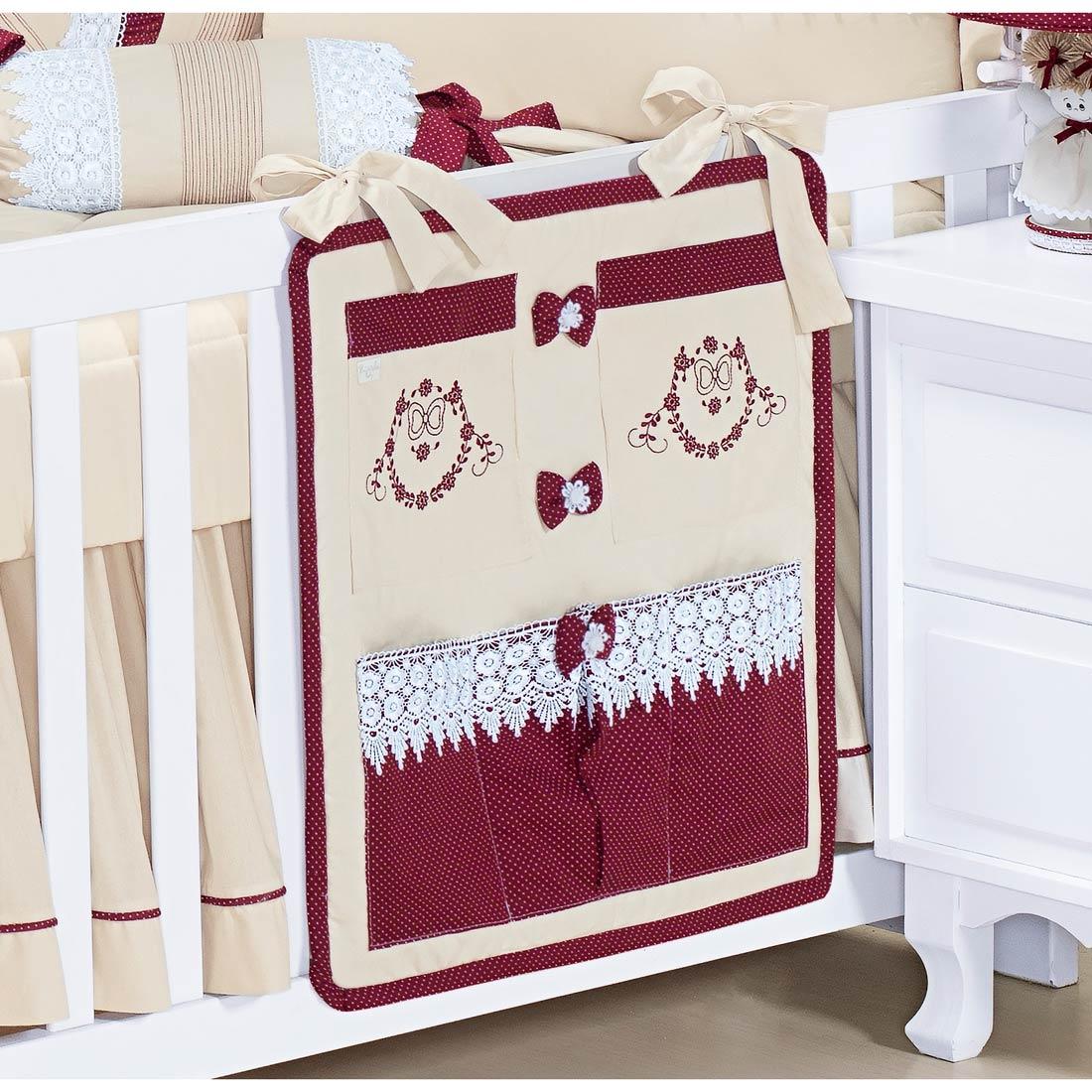 Porta Objetos para Berço de Bebê - Coleção Marsala