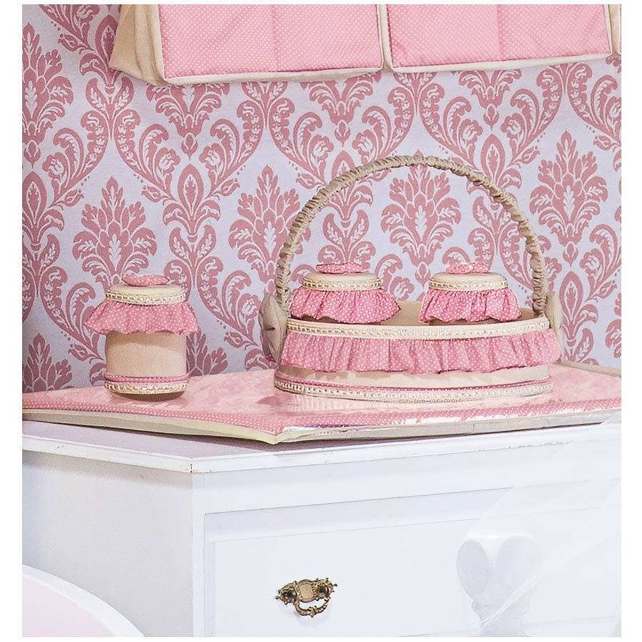 Kit Acessórios com Abajur, Cesta e Potes - Coleção My Princess Rose