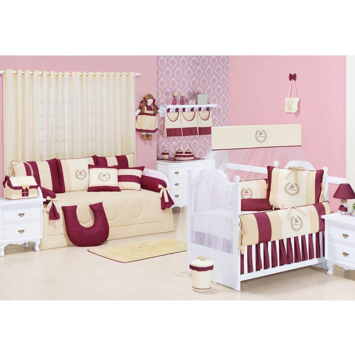 Lixeira Enfeitada p/ Quarto de Bebê - Coleção My Princess Bordo