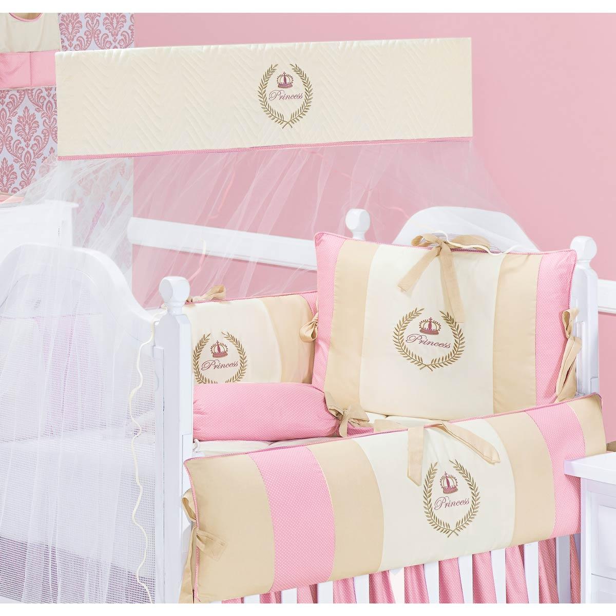 Coleção Completa para Quarto de Bebê My Princess Rose 100% Algodão - 21 Peças