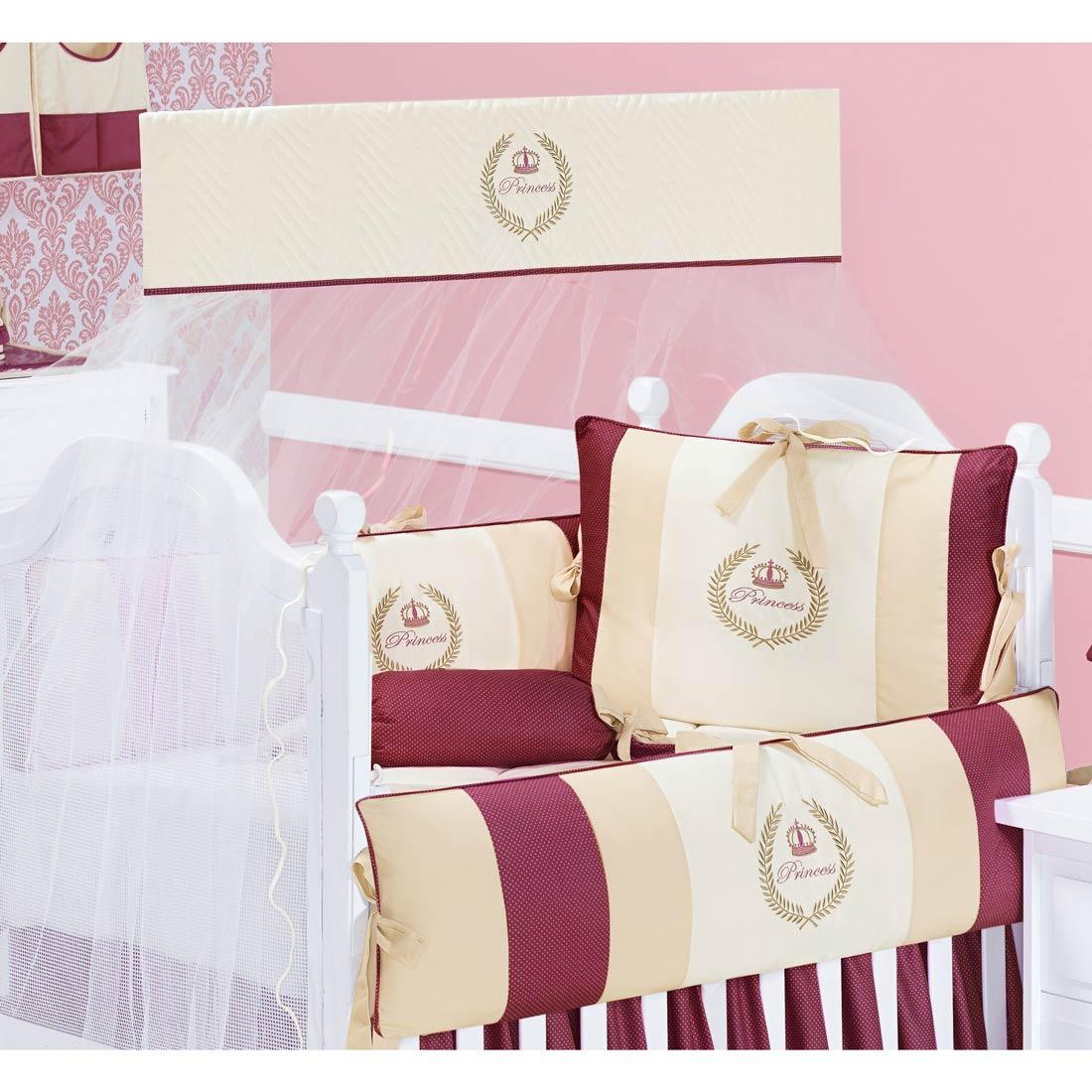 Coleção Completa para Quarto de Bebê My Princess Bordo 100% Algodão - 21 Peças