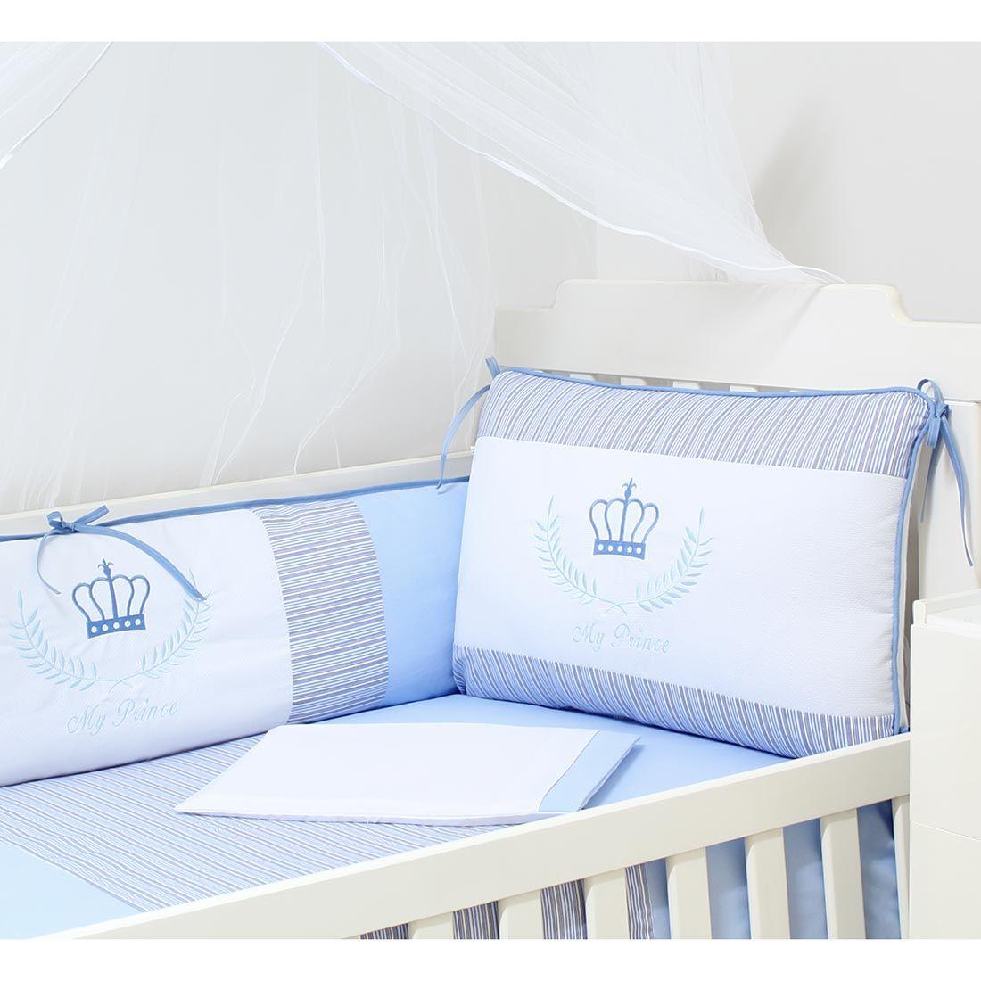 Kit Berço 9 Peças Americano c/ Mosquiteiro - Coleção My Prince - 100% Algodão - Azul