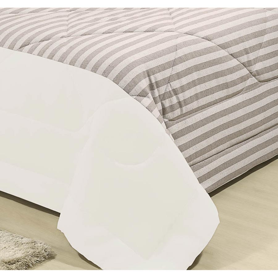 Cobre Leito Casal King Natural 03 Peças Tecido Microfibra e Rústico - Palha