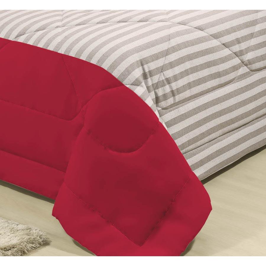 Cobre Leito Casal King Natural 03 Peças Tecido Microfibra e Rústico - Vermelho