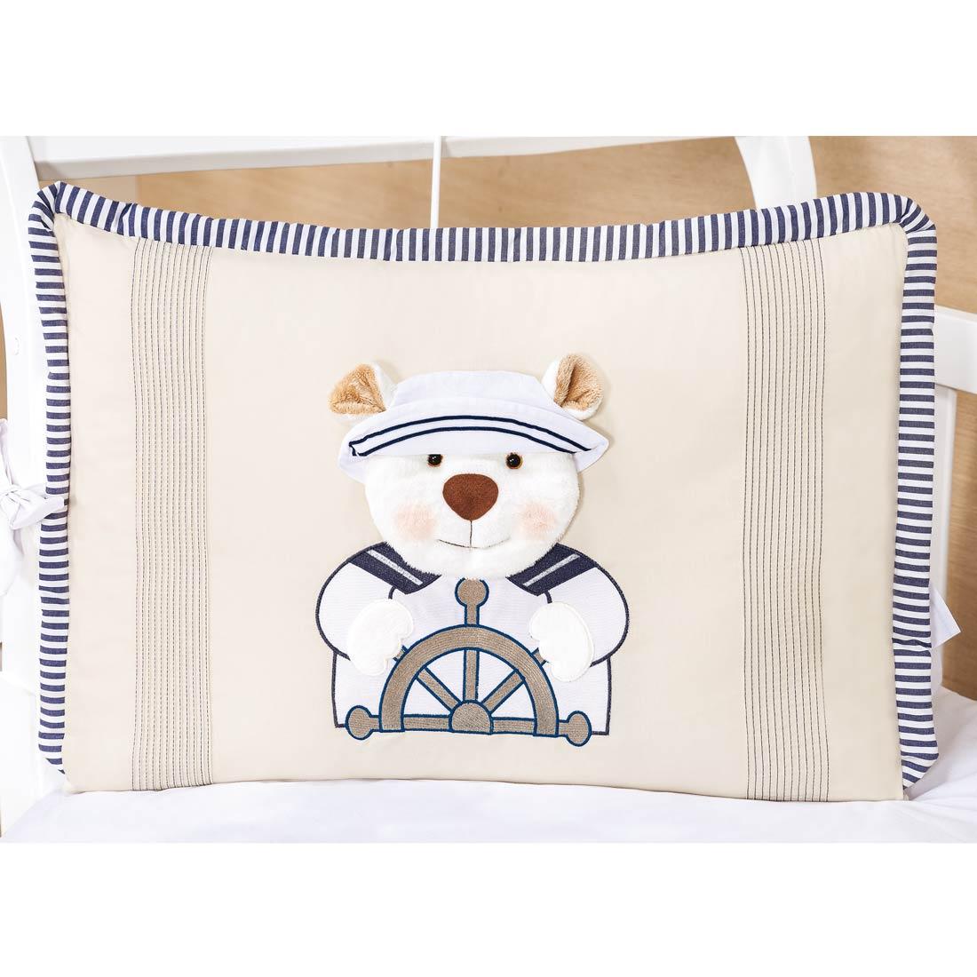 Kit Berço 9 Peças Americano c/ Mosquiteiro - Coleção Urso Navegador - 100% Algodão