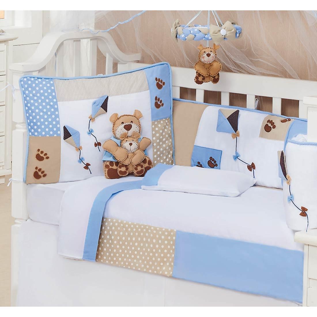 Coleção Completa para Quarto de Bebê Papai Urso Baby 100% Algodão - 16 Peças