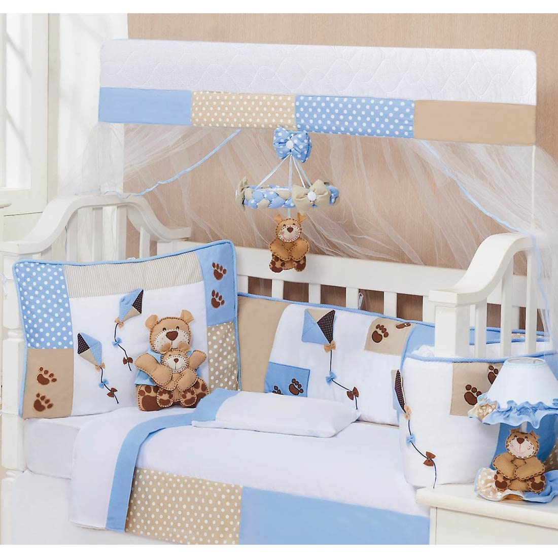 Kit Berço 9 Peças Americano c/ Mosquiteiro - Coleção Papai Urso Baby - 100% Algodão