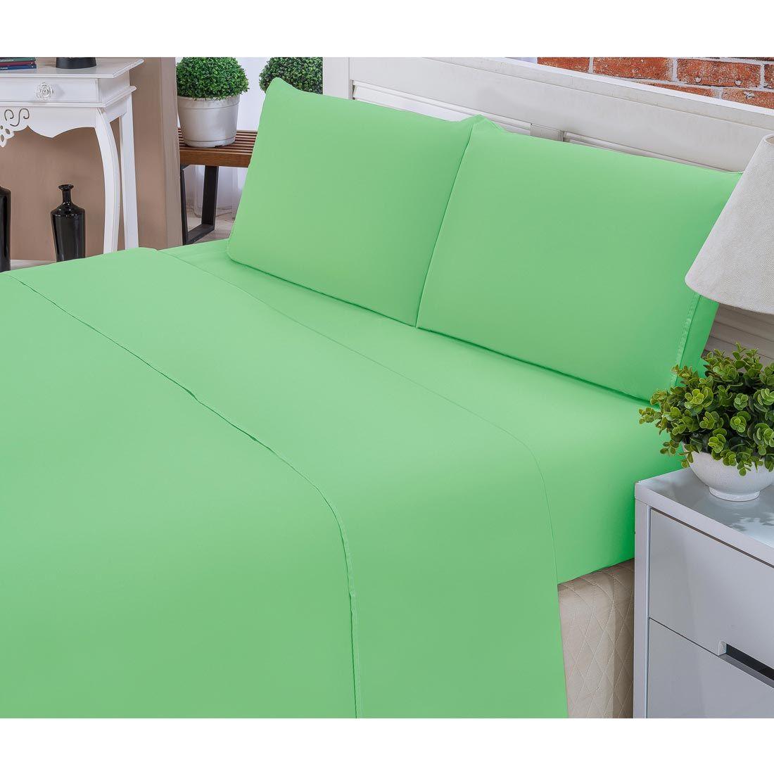 Jogo de Lençol Casal Padrão Liso Pati 04 Peças Tecido Microfibra - Verde
