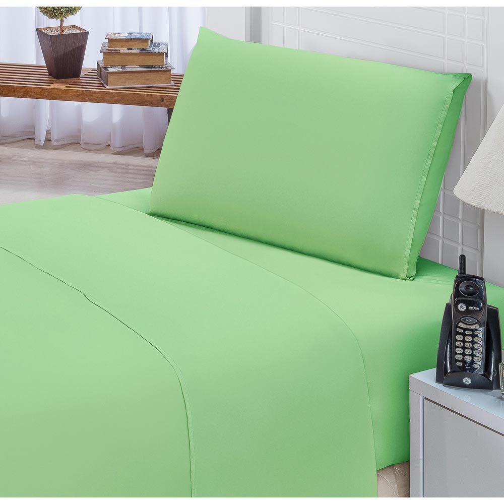 Jogo de Lençol Solteiro Padrão Liso Pati 03 Peças Tecido Microfibra - Verde