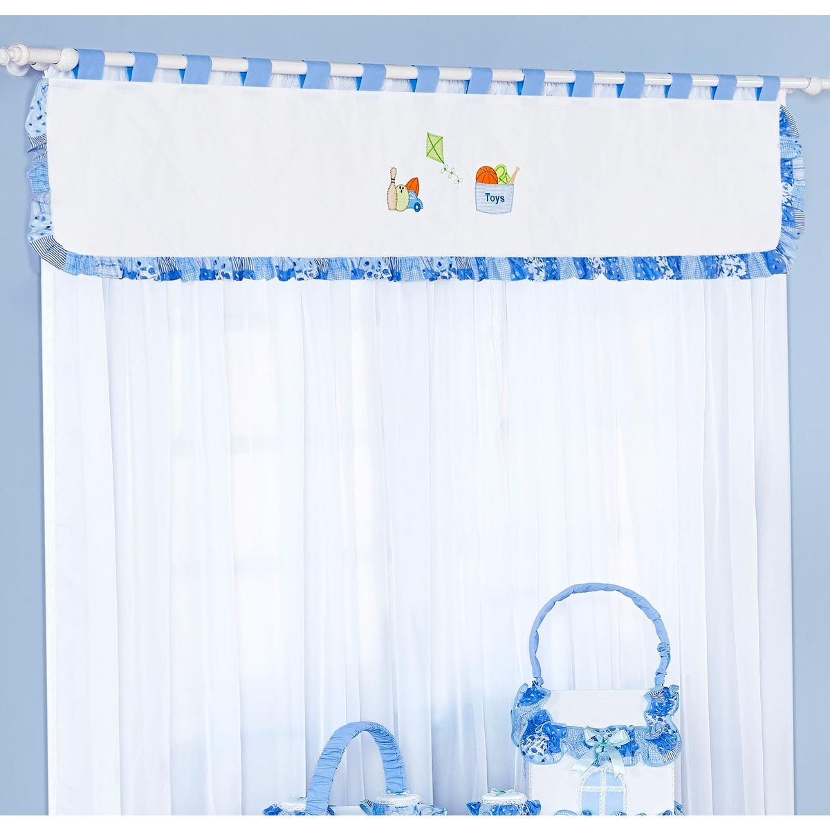 Cortina para Quarto de Bebê 2 Metros Coleção Pedrinho (Cavalinho) - Azul