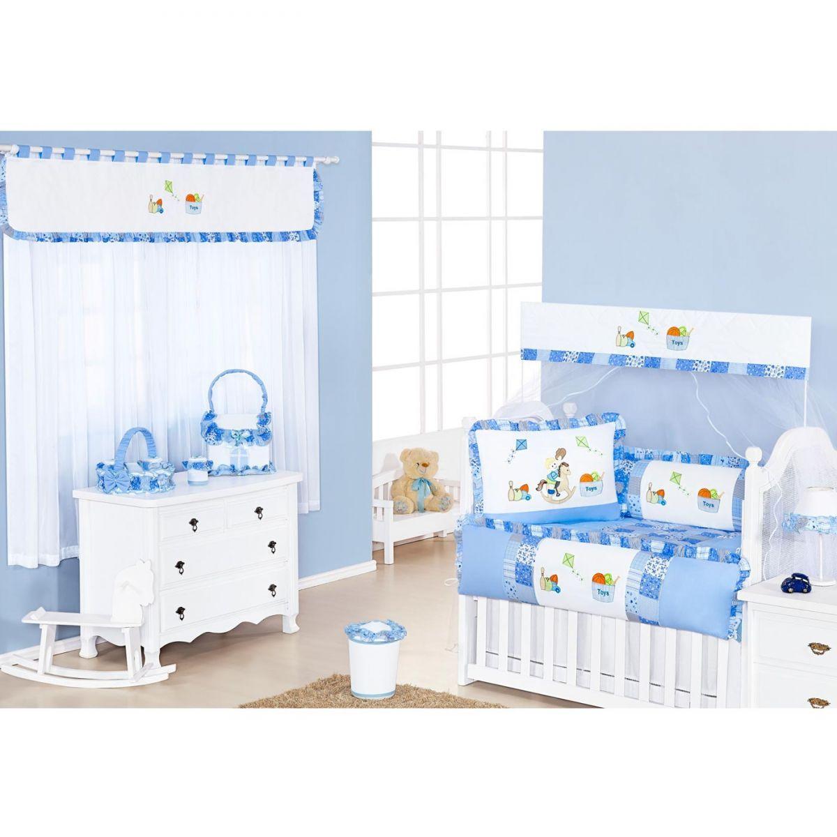 Lixeira Enfeitada para Quarto de Bebê Coleção Pedrinho - Azul