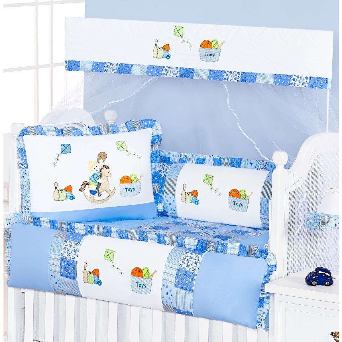 Coleção Completa para Quarto de Bebê Pedrinho (Cavalinho) Azul - 18 Peças