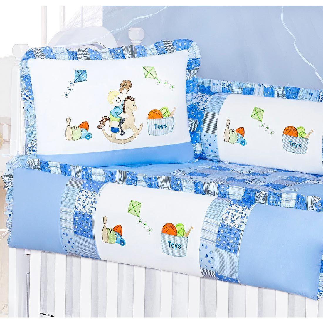Kit Berço 09 Peças Americano com Mosquiteiro Coleção Pedrinho (Cavalinho) - Azul