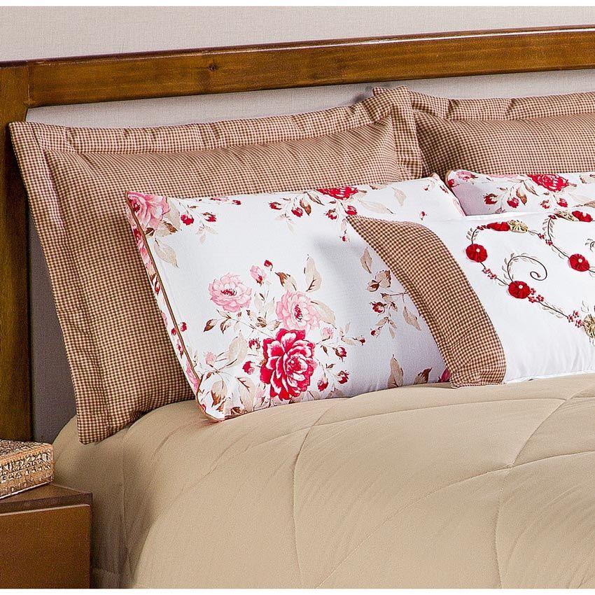 Colcha Casal Queen Penelope 6 Peças c/ Almofada e 4 Porta Travesseiros - Caqui