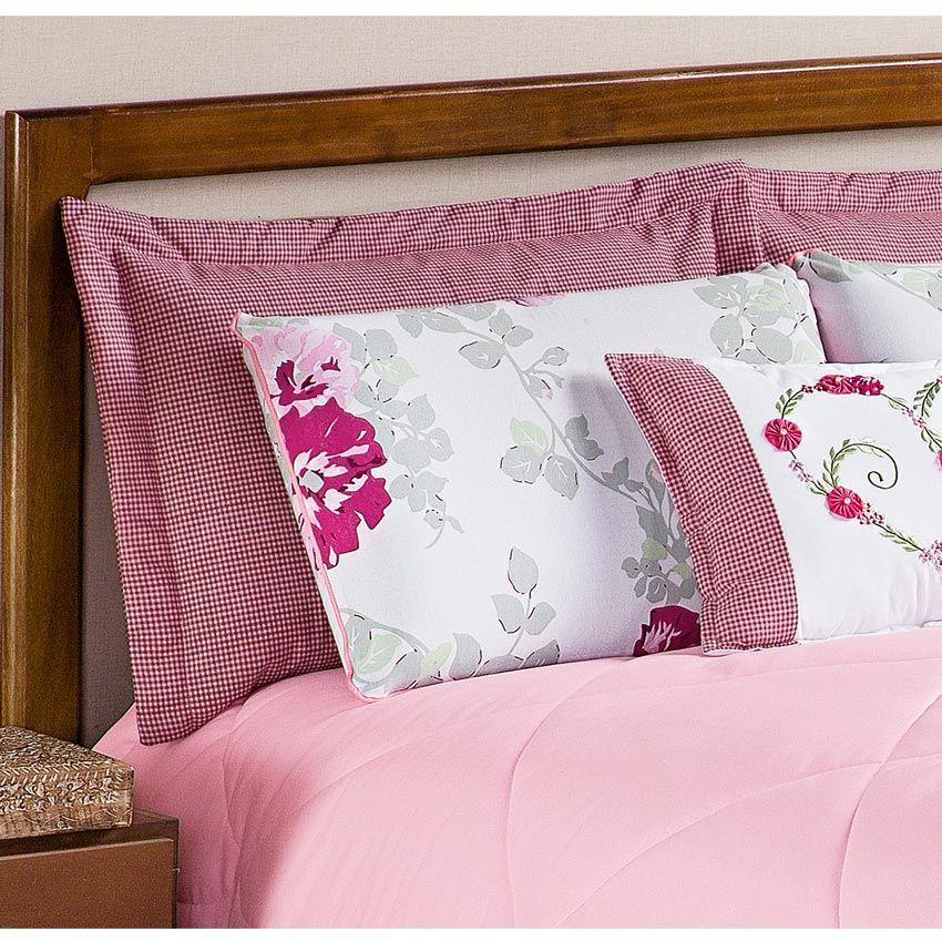 Colcha Casal Queen Penelope 6 Peças c/ Almofada e 4 Porta Travesseiros - Rosa