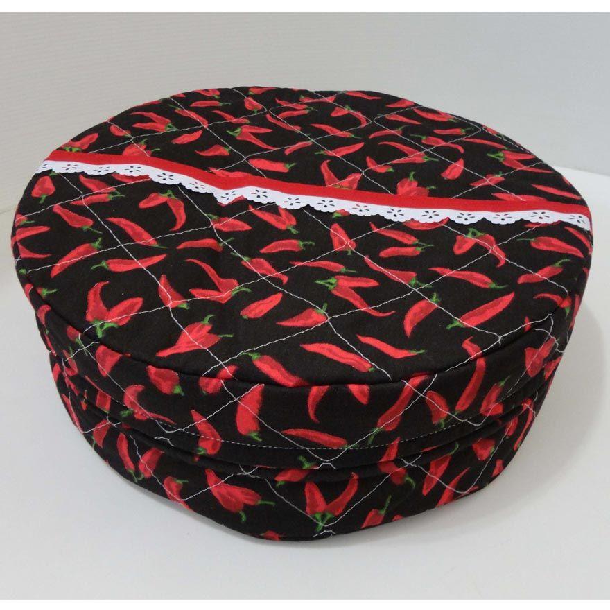 Porta Assadeira Redondo Forrado com Plástico - Pimenta Preta