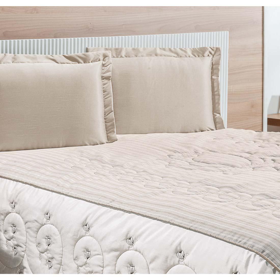 Cobre Leito Casal Queen Premium 03 Peças Bordado Tecido Rústico - Palha