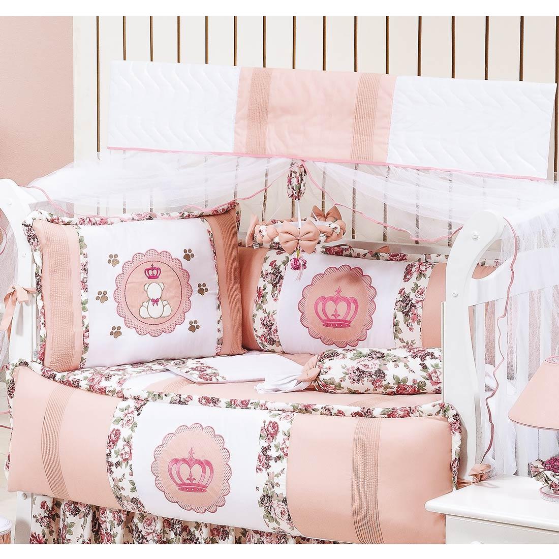 Kit Berço 9 Peças Americano c/ Mosquiteiro - Coleção Princesa Baby - 100% Algodão