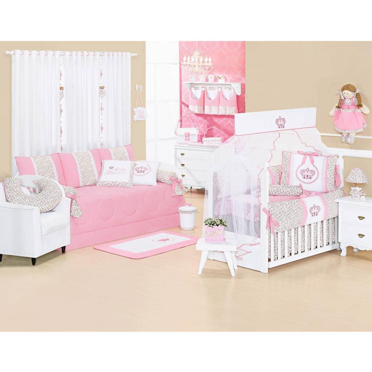 Cortina p/ Quarto de Bebê 2 Metros - Coleção Princesinha Baby Rosa