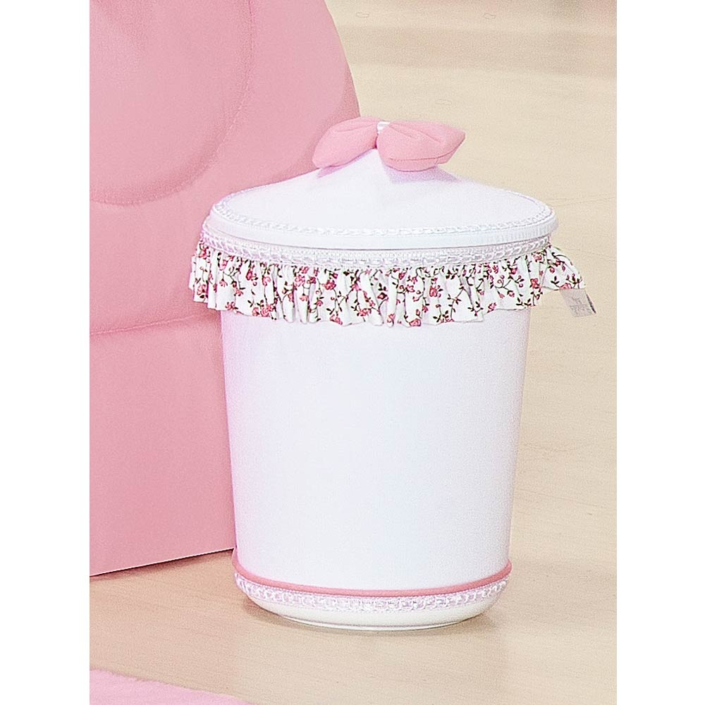 Lixeira Enfeitada p/ Quarto de Bebê - Coleção Princesinha Baby Rosa