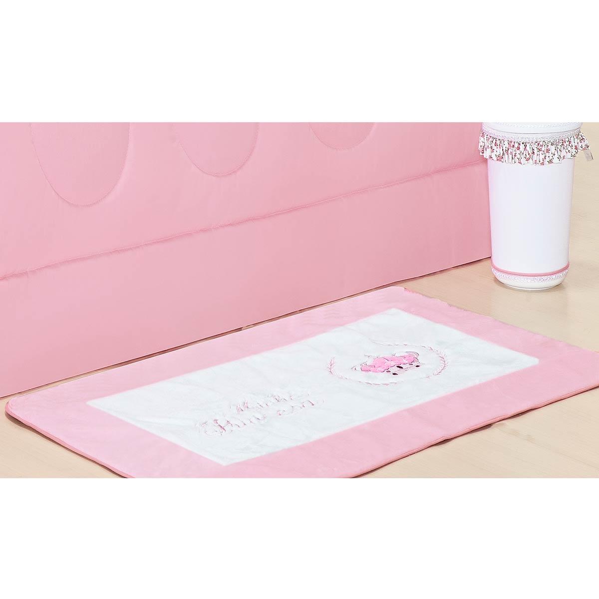 Tapete de Pelúcia Antiderrapante Coleção Princesinha Baby Rosa