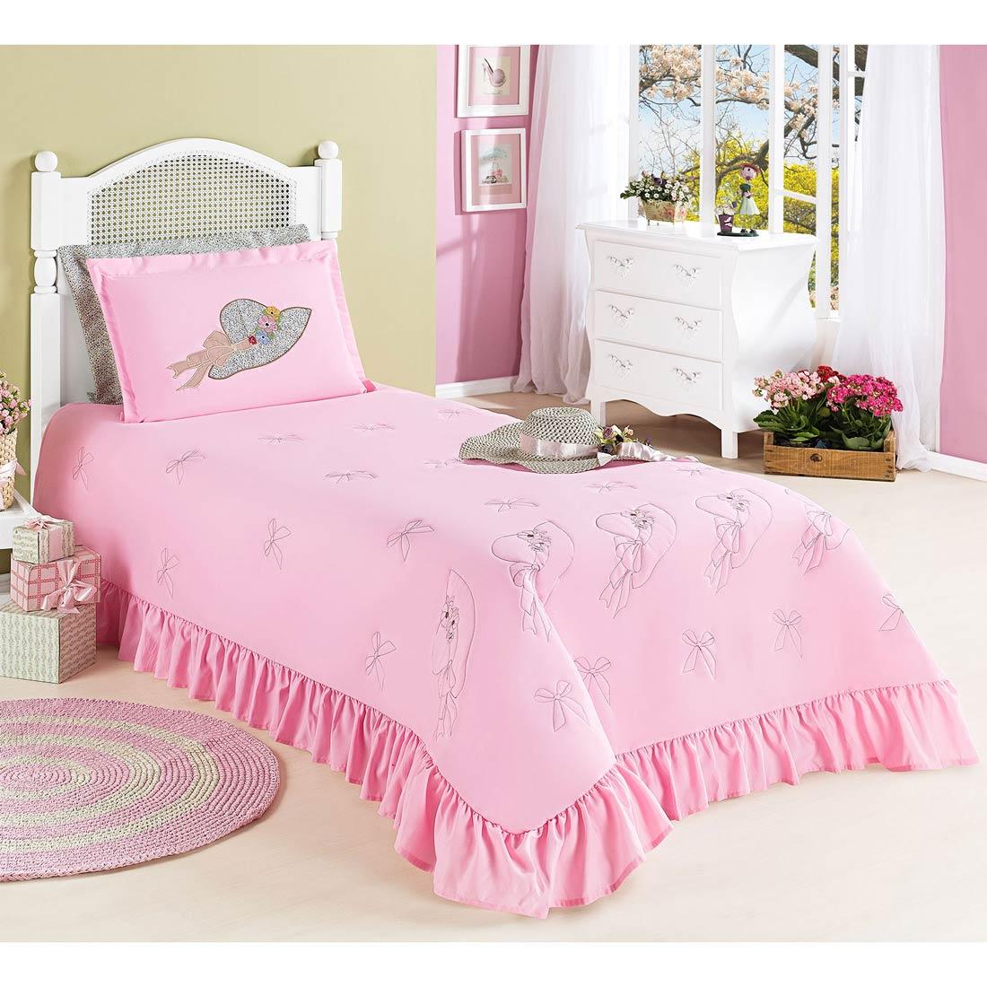Colcha Solteiro Princess 02 Peças c/ Travesseiro - Rosa