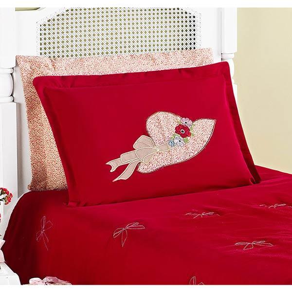 Colcha Solteiro Princess 02 Peças c/ Travesseiro - Vermelho