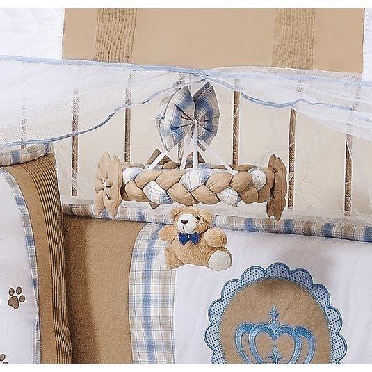 Kit Acesórios Enfeitados c/ 6 Peças - Coleção Príncipe Baby - Abajur, Cesta e Móbile