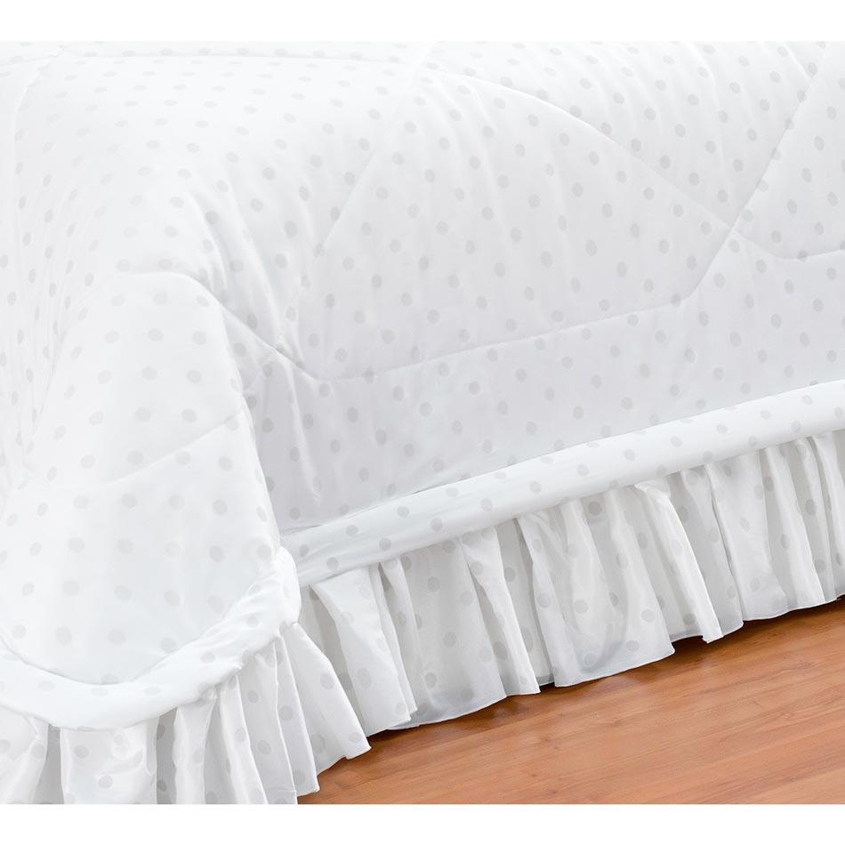 Colcha Casal King Principessa 05 Peças com Almofadas Tecido Tafeta - Branco