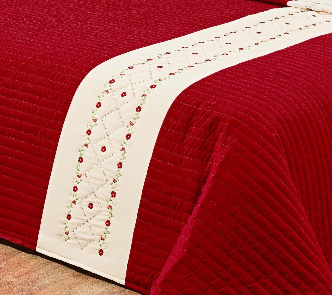 Cobre Leito Casal Provença 03 Peças 100% Algodão Porta Travesseiro Bordado - Vermelho