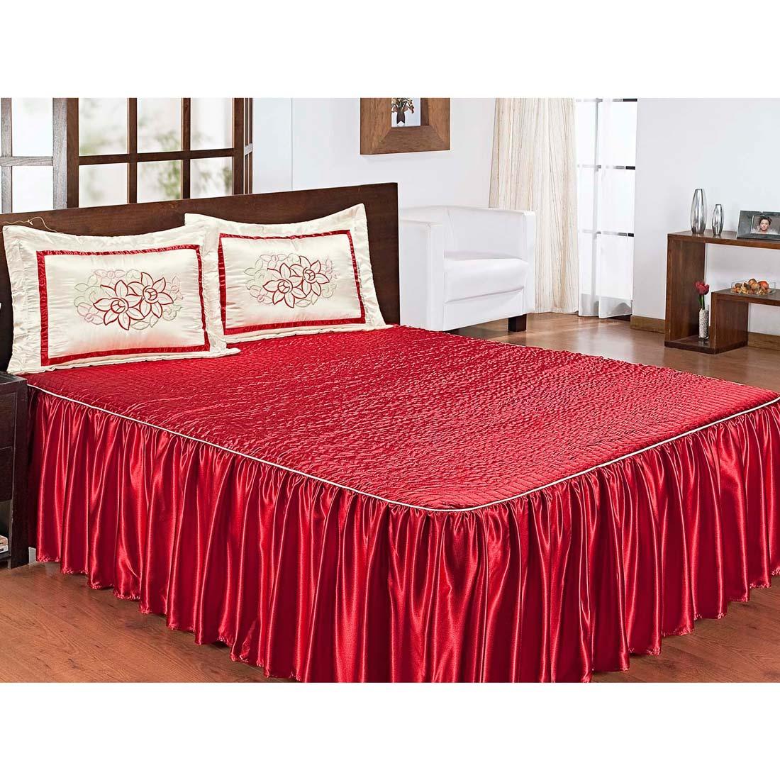 Colcha Casal Padrão Rafaela 03 Peças Tecido Charmousse - Vermelho