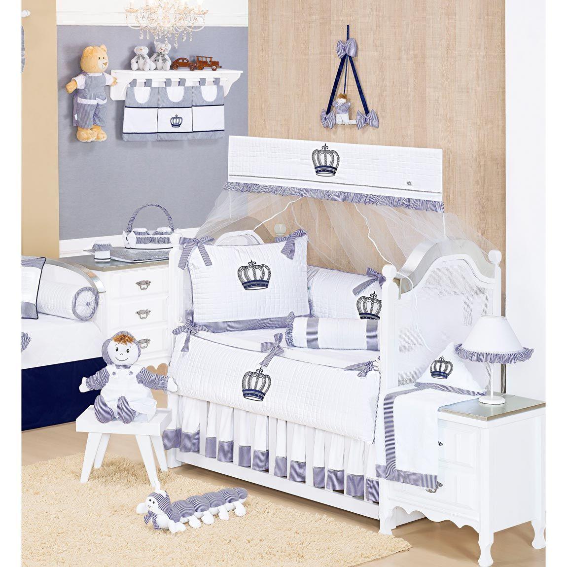 Coleção Completa para Quarto de Bebê Realeza Marinho - 32 Peças