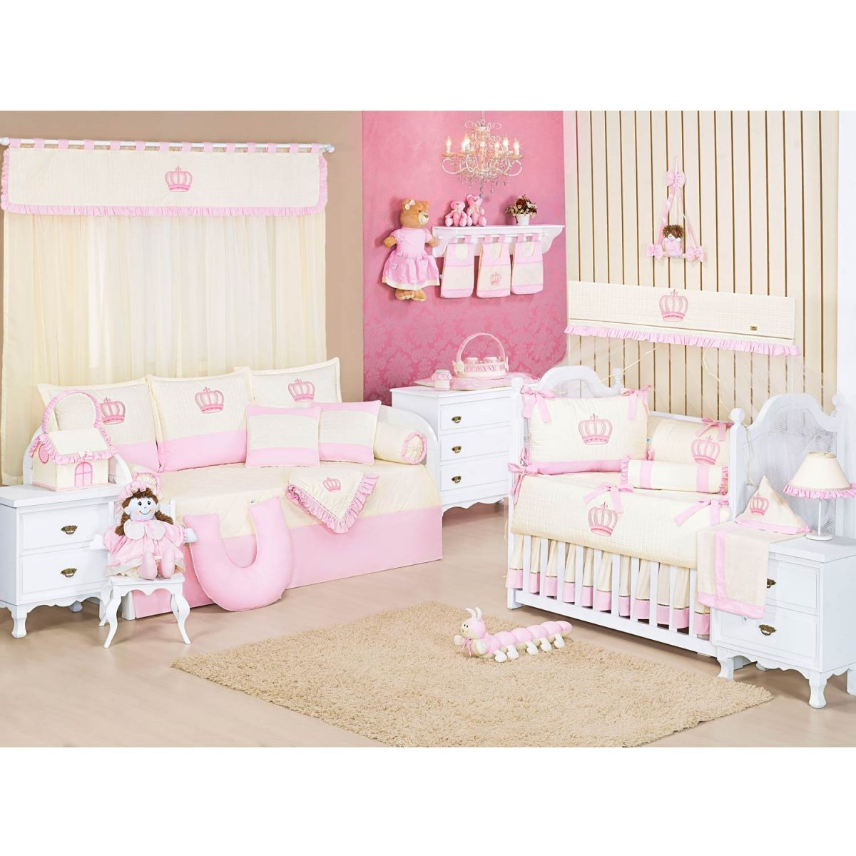 Enfeite de Porta para Quarto de Bebê Coleção Realeza Rosa