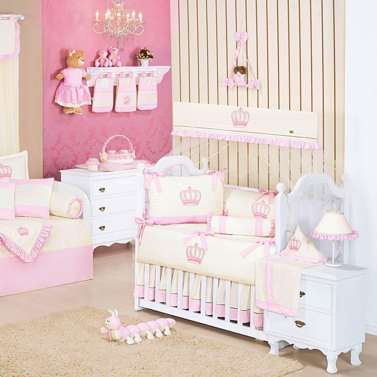 Coleção Completa para Quarto de Bebê Realeza Rosa - 32 Peças