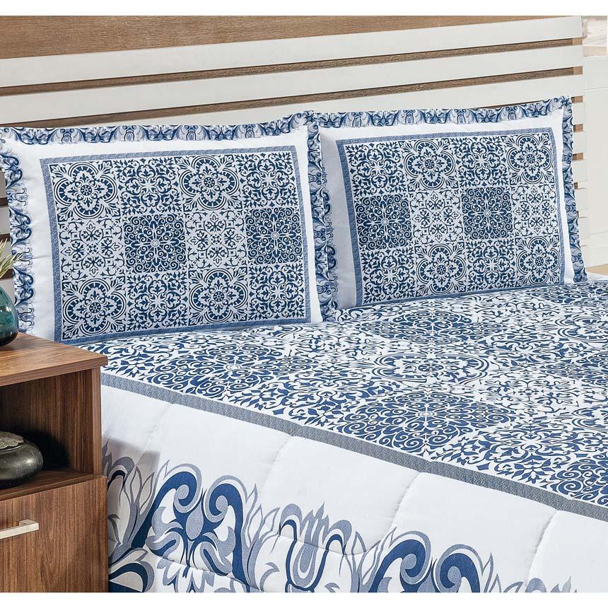 Cobre Leito Casal Padrão Riviera 03 Peças - Azulejo Floral