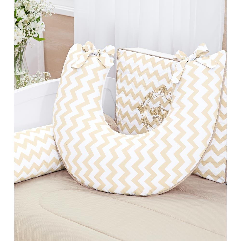 Almofada para Amamentar Bebê Coleção Royalty Caqui
