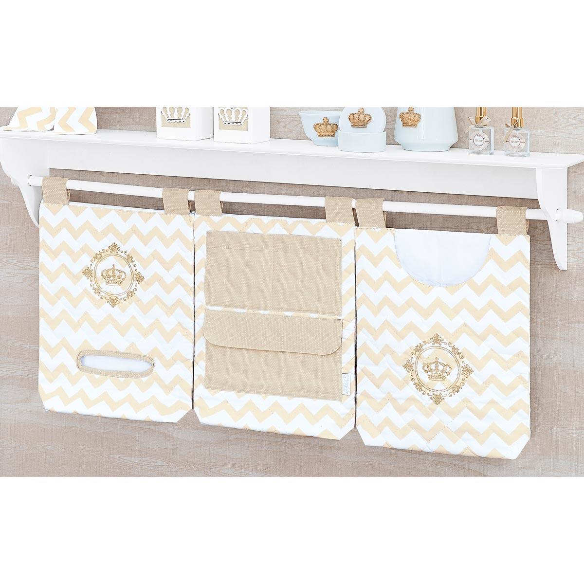 Porta Objetos de Varal para Bebê Coleção Royalty Caqui