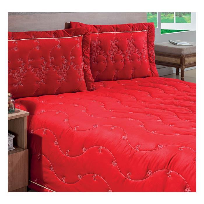 Cobre Leito Casal Queen Serenata 03 Peças Estampado Tecido Microfibra - Vermelho
