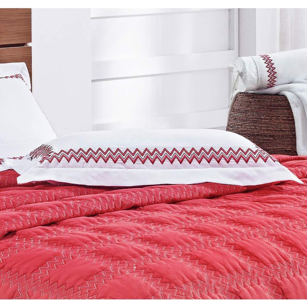 Almofada Bordada Sharon 100% Algodão 200 Fios - Branco/Vermelho