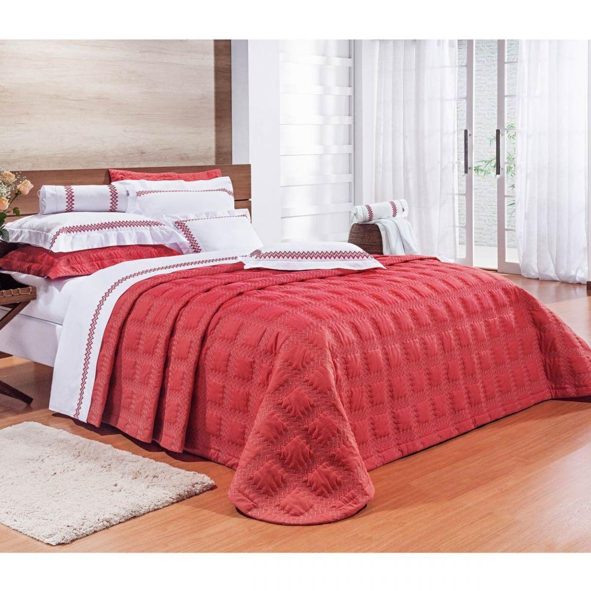 Cobre Leito Casal King Sharon 03 Peças Bordado 100% Algodão 200 Fios - Vermelho