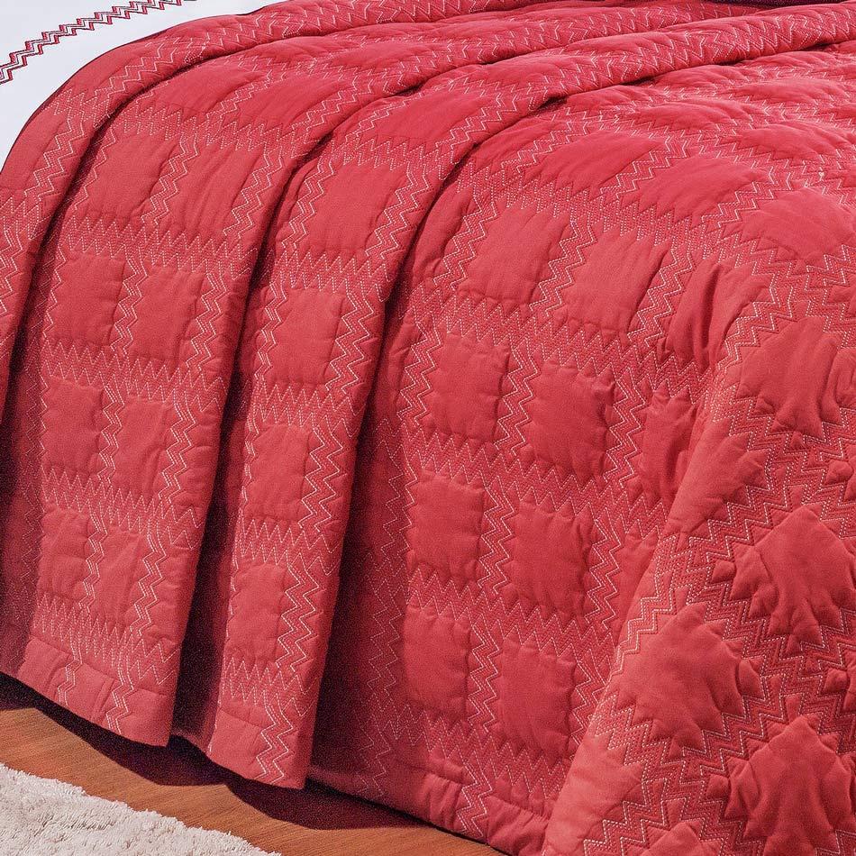 Cobre Leito Casal Queen Sharon 03 Peças Bordado 100% Algodão 200 Fios - Vermelho