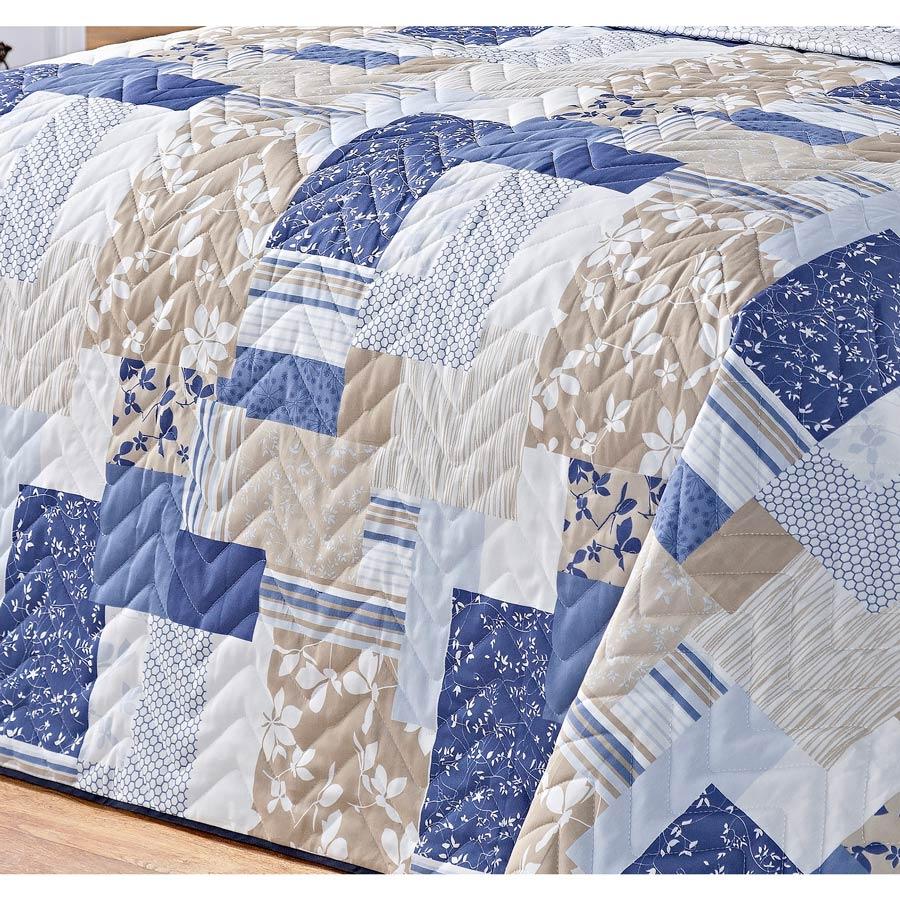 Cobre Leito Casal Padrão Siena DF 03 Peças Tecido Misto Estampado - Azul Patchwork