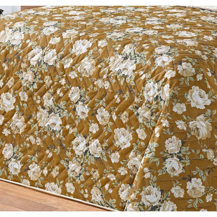 Cobre Leito Casal Queen Siena DF 03 Peças Tecido Misto Estampado - Caqui Floral