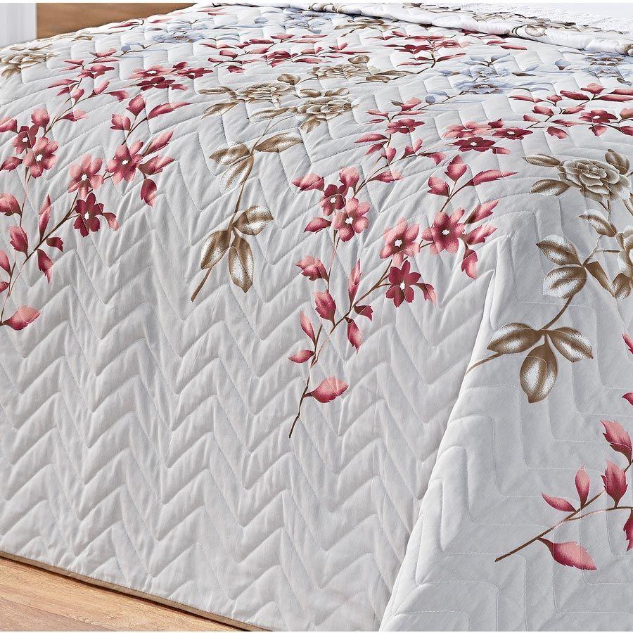 Cobre Leito Casal Queen Siena DF 03 Peças Tecido Misto Estampado - Cinza Floral
